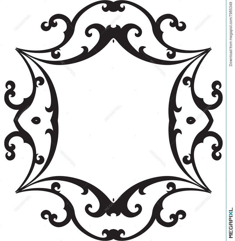 Black & White Scroll Frame Illustration 7985349 - Megapixl