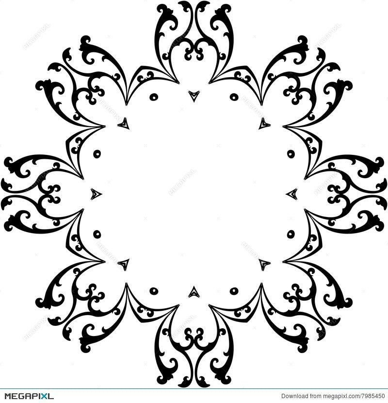 Black & White Scroll Frame Illustration 7985450 - Megapixl
