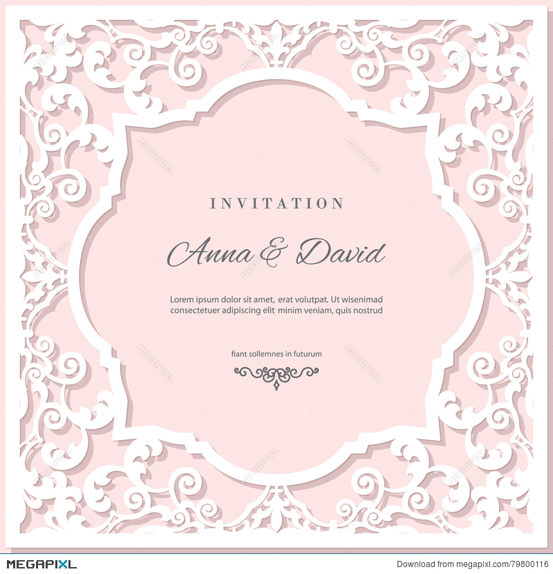 Wedding Invitation Card Template With Laser Cutting Frame. Pastel ...