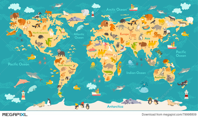 Animal map for kid world vector poster for children cute animal map for kid world vector poster for children cute illustrated gumiabroncs Gallery