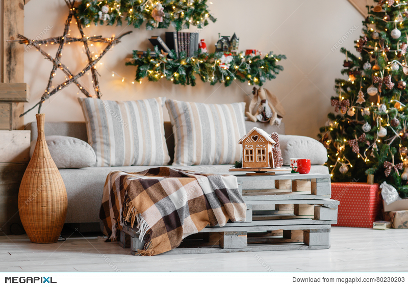 Calm Image Of Interior Modern Home Living Room Decorated Christmas Tree And Gifts Sofa