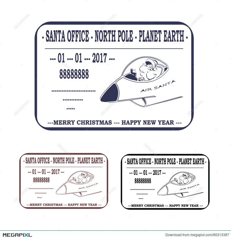 christmas new year letter to santa claus template stamp vector