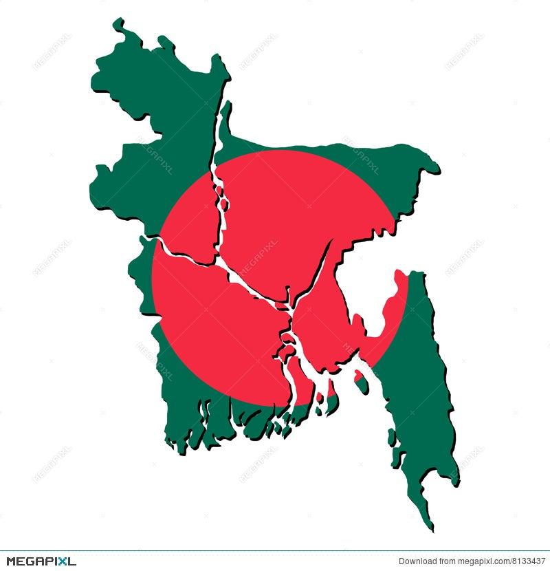 Bangladesh Map Flag Illustration Megapixl - Bangladesh map download