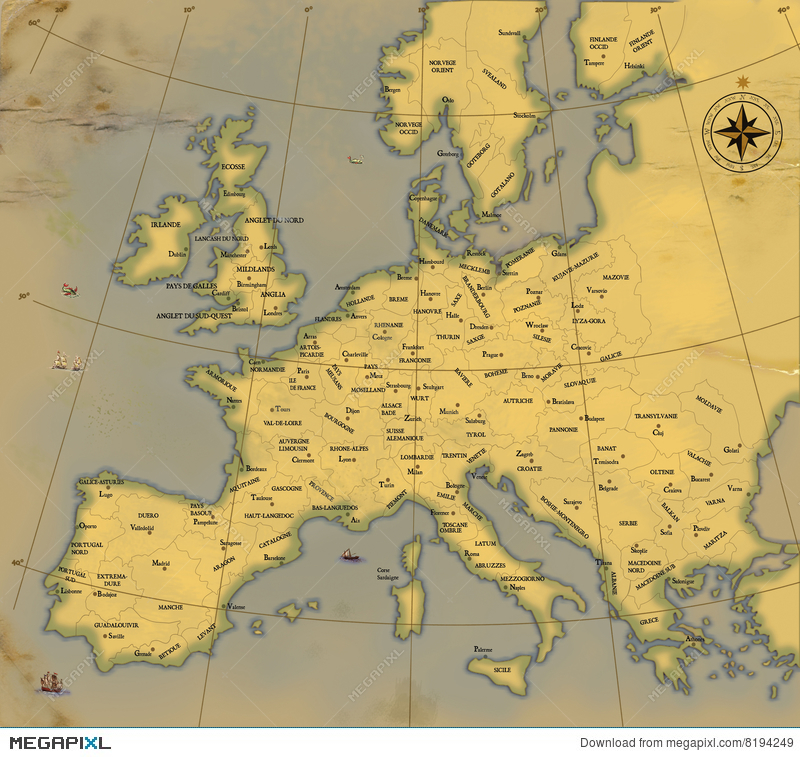old style map of europe A Map Of Europe Is In Age Old Style Illustration 8194249   Megapixl