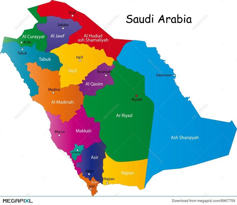 Saudi Arabia Map Illustration 8967759 - Megapixl