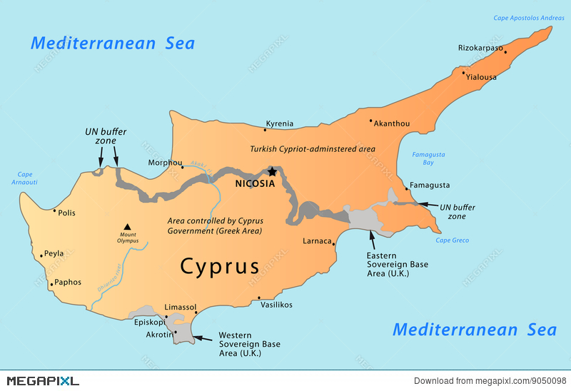 Cyprus map illustration 9050098 megapixl cyprus map gumiabroncs Choice Image