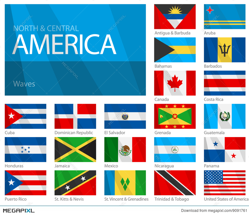 Waving Flags Of North Central American Countries Illustration 9091761 Megapixl