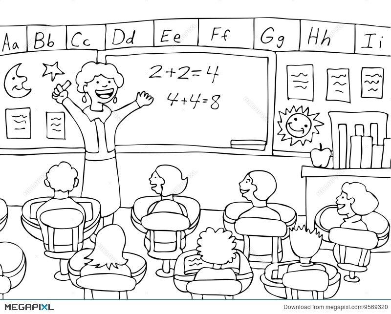 math teacher black and white illustration 9569320 megapixl rh megapixl com empty classroom clipart black and white school classroom clipart black and white