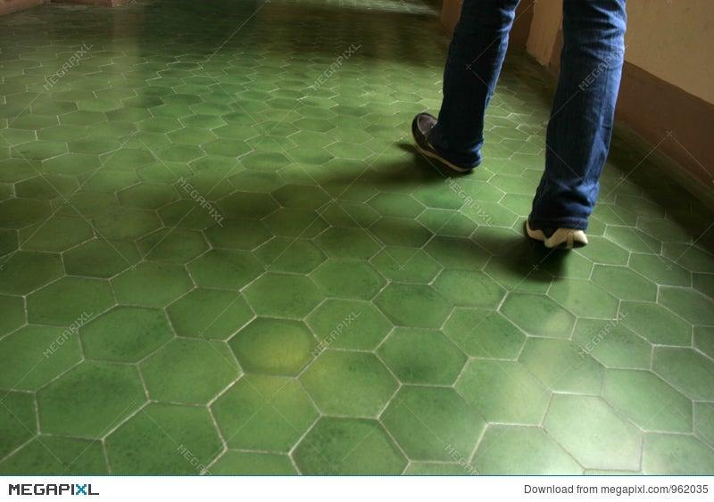 Green Tile Floor In An Ancient Building