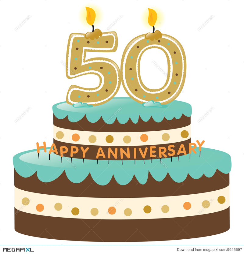 50th Anniversary Cake With Candles